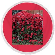 Red Mums Round Beach Towel