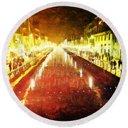 Red Naviglio Round Beach Towel by Andrea Barbieri