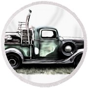 Red Neck Moving Day Round Beach Towel