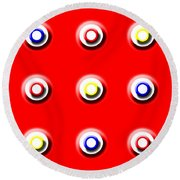 Red Nine Squared Round Beach Towel