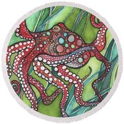 Round Beach Towel featuring the painting Red Octo by Tamara Phillips