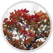 Red Orange Treetop Round Beach Towel