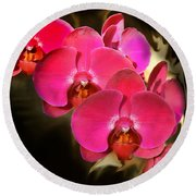 Red Orchid11 Round Beach Towel by Susan Crossman Buscho