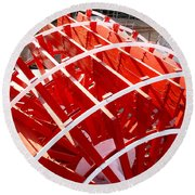 Red Paddle Wheel Round Beach Towel