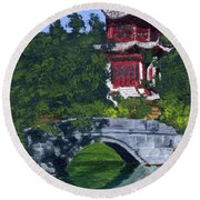 Round Beach Towel featuring the painting Red Pagoda by Lynne Reichhart