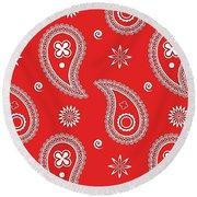 Red Paisley Round Beach Towel