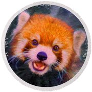 Red Panda Cub Round Beach Towel
