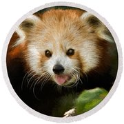 Red Panda Round Beach Towel by Lana Trussell