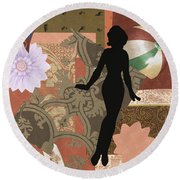 Red Paper Doll Round Beach Towel