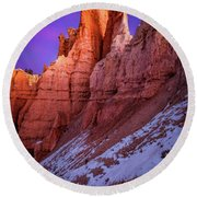 Red Peaks Round Beach Towel