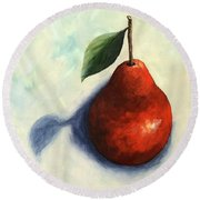 Red Pear In The Spotlight Round Beach Towel
