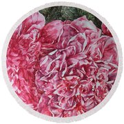 Red Peonies Round Beach Towel