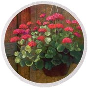 Round Beach Towel featuring the painting Red Petals Geraniums by Nancy Lee Moran