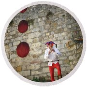 Red Piper Round Beach Towel
