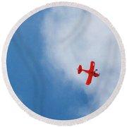 Red Plane Round Beach Towel