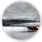 Red Plane In A Monochrome World Round Beach Towel