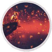 Round Beach Towel featuring the painting Red Planet by Tithi Luadthong