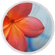 Red Plumeria Paint Round Beach Towel