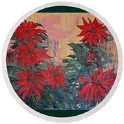 Red Poinsettias By George Wood Round Beach Towel