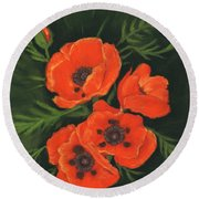 Round Beach Towel featuring the painting Red Poppies by Anastasiya Malakhova