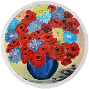 Red Poppies And All Kinds Of Daisies  Round Beach Towel