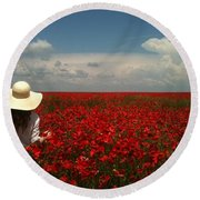 Red Poppies And Lady Round Beach Towel