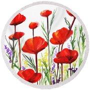 Red Poppies Art By Irina Sztukowski Round Beach Towel by Irina Sztukowski