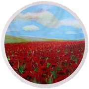 Red Poppies In Remembrance Round Beach Towel