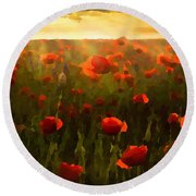 Red Poppies In The Sun Round Beach Towel