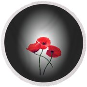 Red Poppies Round Beach Towel by Lynn Bolt