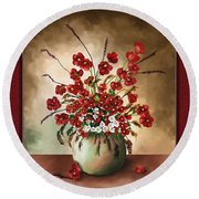 Round Beach Towel featuring the digital art Red Poppies by Susan Kinney
