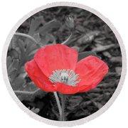 Red Poppy Flower Round Beach Towel