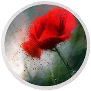 Red Poppy Round Beach Towel