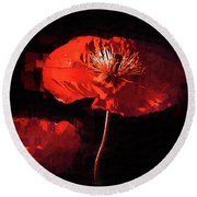 Round Beach Towel featuring the digital art Red Poppy by Kirt Tisdale