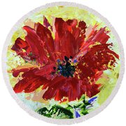 Red Poppy Round Beach Towel by Lynda Cookson