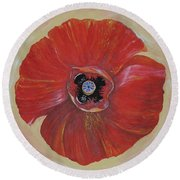 Red Poppy Round Beach Towel by Rita Fetisov