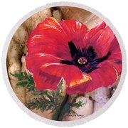 Round Beach Towel featuring the painting Red Poppy by Sherry Shipley