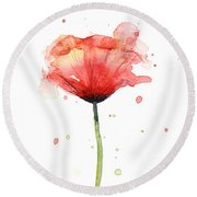 Red Poppy Watercolor Round Beach Towel
