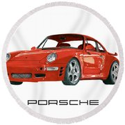 Red Porsche 993 1997 Twin Turbo R Round Beach Towel