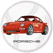 Red Porsche 993 1997 Twin Turbo R Round Beach Towel by Jack Pumphrey