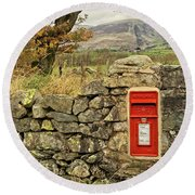 Red Postbox Down A Country Lane Round Beach Towel