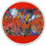 Red Pressure Round Beach Towel