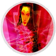Red Queen Of Hearts Round Beach Towel by Seth Weaver