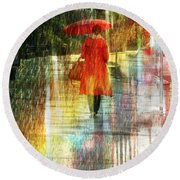 Red Rain Day Round Beach Towel