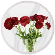 Round Beach Towel featuring the photograph Red Ranunculus by Kim Hojnacki