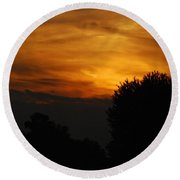 Red Red Sunset Round Beach Towel