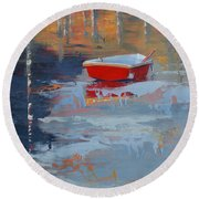 Red Reflections Round Beach Towel
