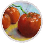 Red Ripe And Ready Round Beach Towel by Laurie Morgan