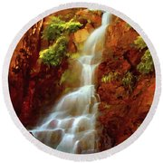 Red River Falls Round Beach Towel by Peter Piatt