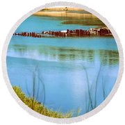 Round Beach Towel featuring the photograph Red River Crossing Old Bridge by Diana Mary Sharpton